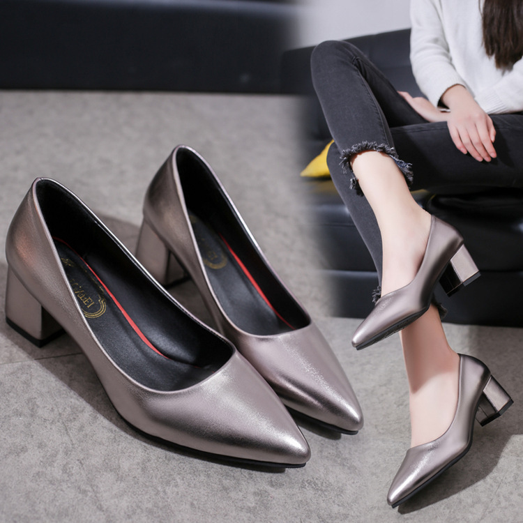 Newest Women Pointed Toe Pumps Shallow Mouth Ladies High Heels Shoes Thick Shallow Office Work Shoes