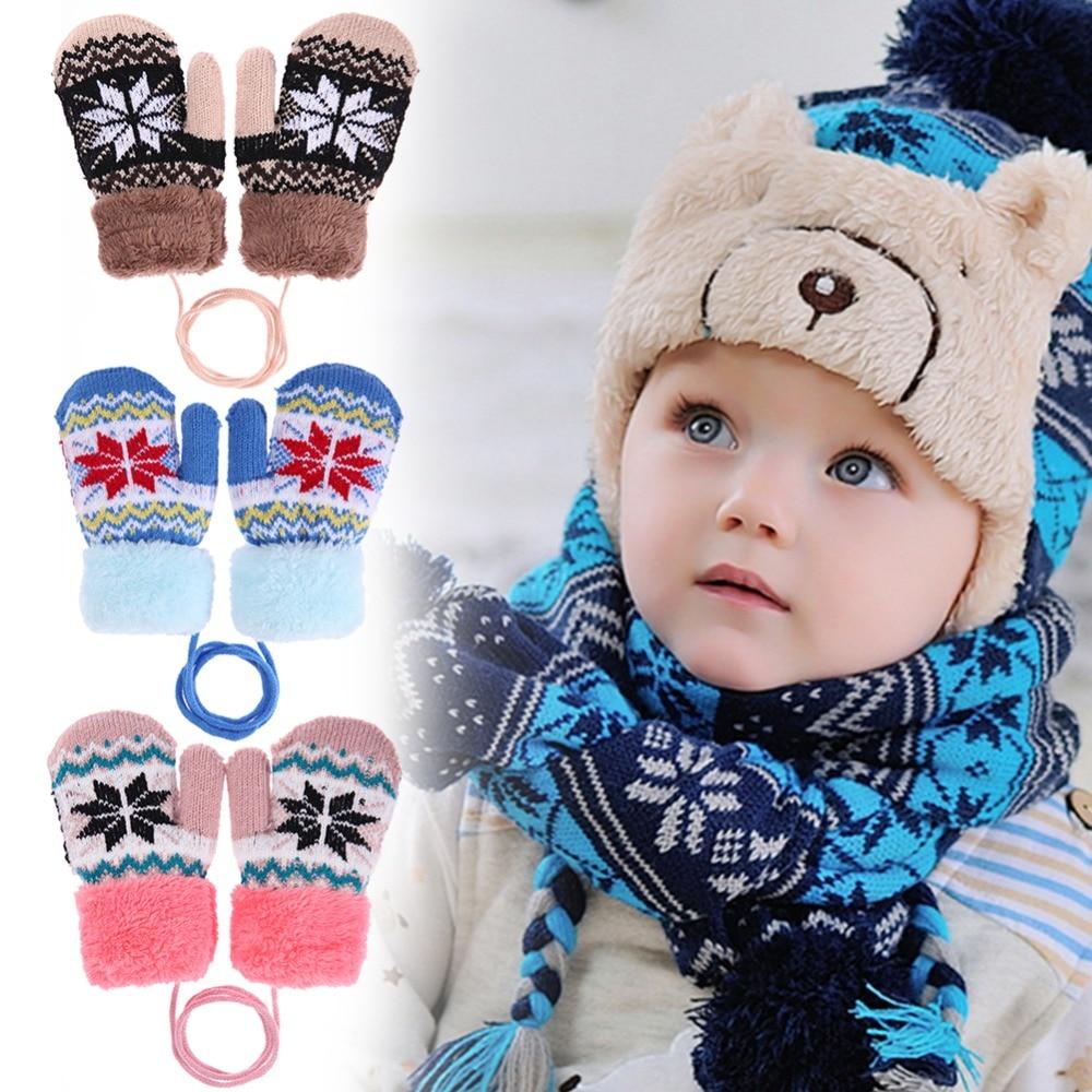 цена Winter Baby Kids Mittens Soft Warm Fleece Knitted Elastic Thickened Ski Gloves Casual Children Full Finger Gloves Hand Warmer в интернет-магазинах