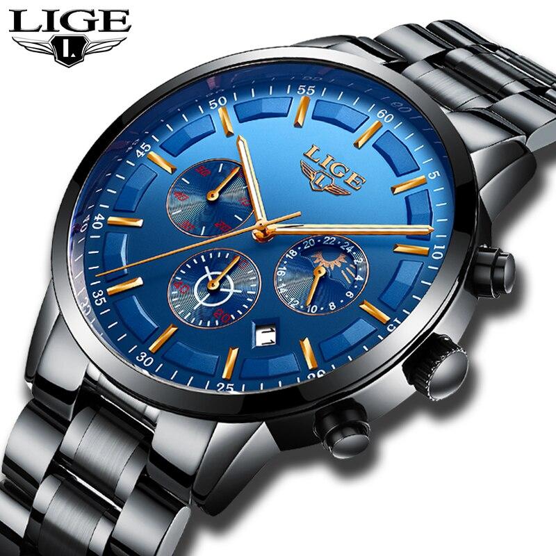 LIGE Montre Hommes Mode Sport Quartz Horloge Hommes Montres Top Marque De Luxe En Acier Plein D'affaires Montre Étanche Relogio Masculino