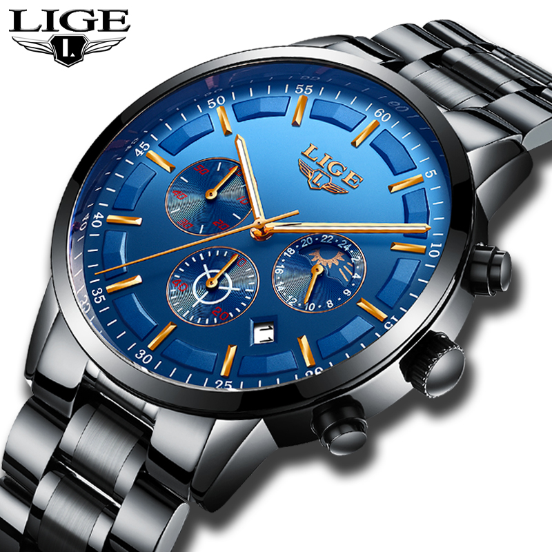 LIGE Watch Men Fashion Sport Quartz Clock Mens Watches Top Brand Luxury Full Steel Business Waterproof Watch Relogio Masculino lige mens watches top brand luxury fashion business quartz watch men sport full steel waterproof clock man box relogio masculino