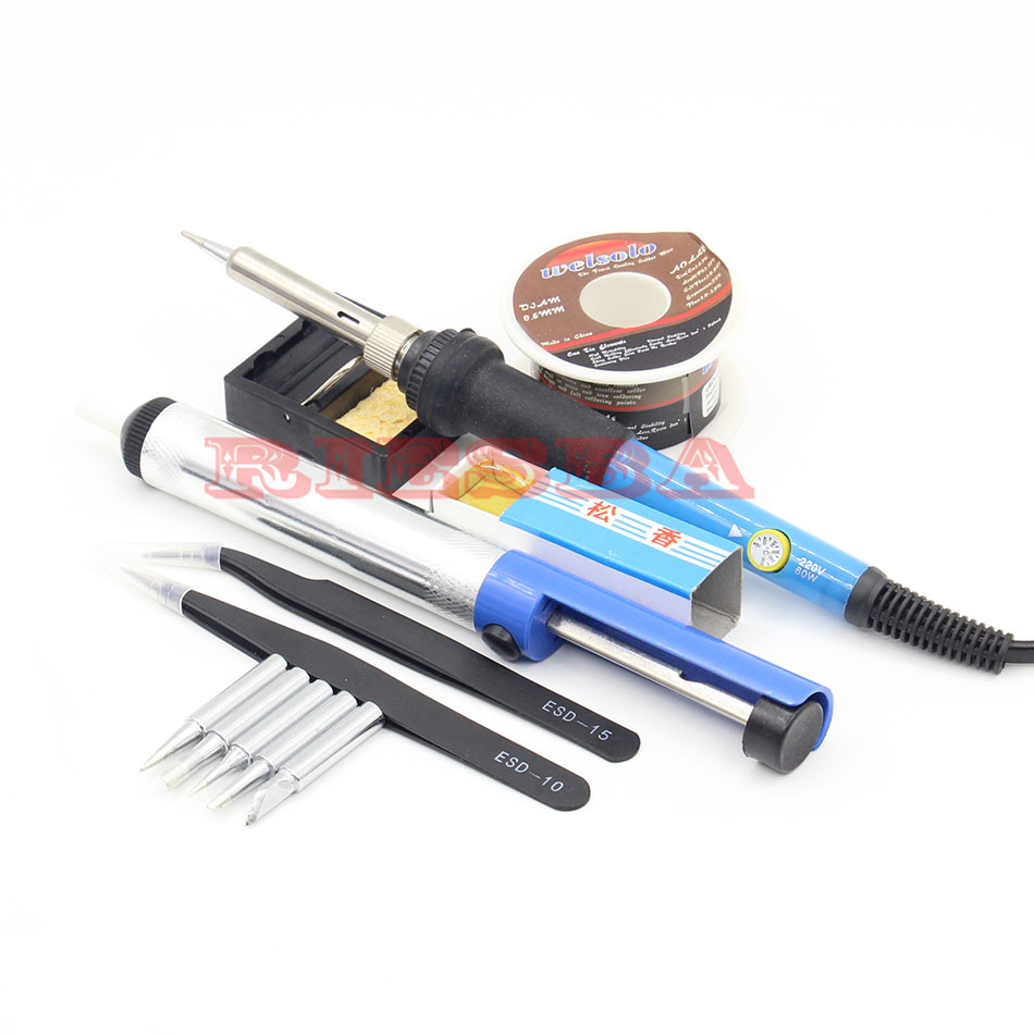 60w 220v Adjustable Temperature Soldering Iron Kit+5 Tips+Desoldering Pump+Soldering Iron Stand +Tweezers+ Solder Wire + Rosin tgk desoldering pump