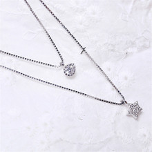925 Sterling silver Pendant necklace The stars round set auger Womens fashion jewelry wholesale Holiday gifts