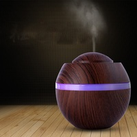 500ML USB Aromatherapy Air Humidifier Wood Grain Mini Desktop Aroma Essential Oil Diffuser With LED Lights