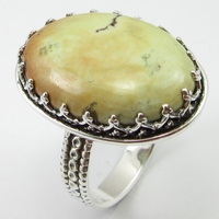 Silver Turquoises Prong Setting Finger Ring Size 7.75 Art Jewelry Unique Designed