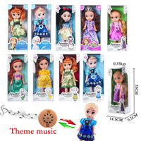 Disney 30 cm Poupées 14 Pouce Vinyle Poupée avec Thème Musique Salon Princesse Frozen Anna Elsa Jouets pour Enfants Anniversaire De Noël cadeau