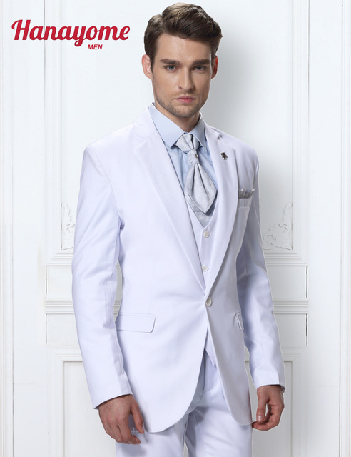 Custom Made Blazer Jacket Mens Three Piece Suits White Prom Tuxedos ...