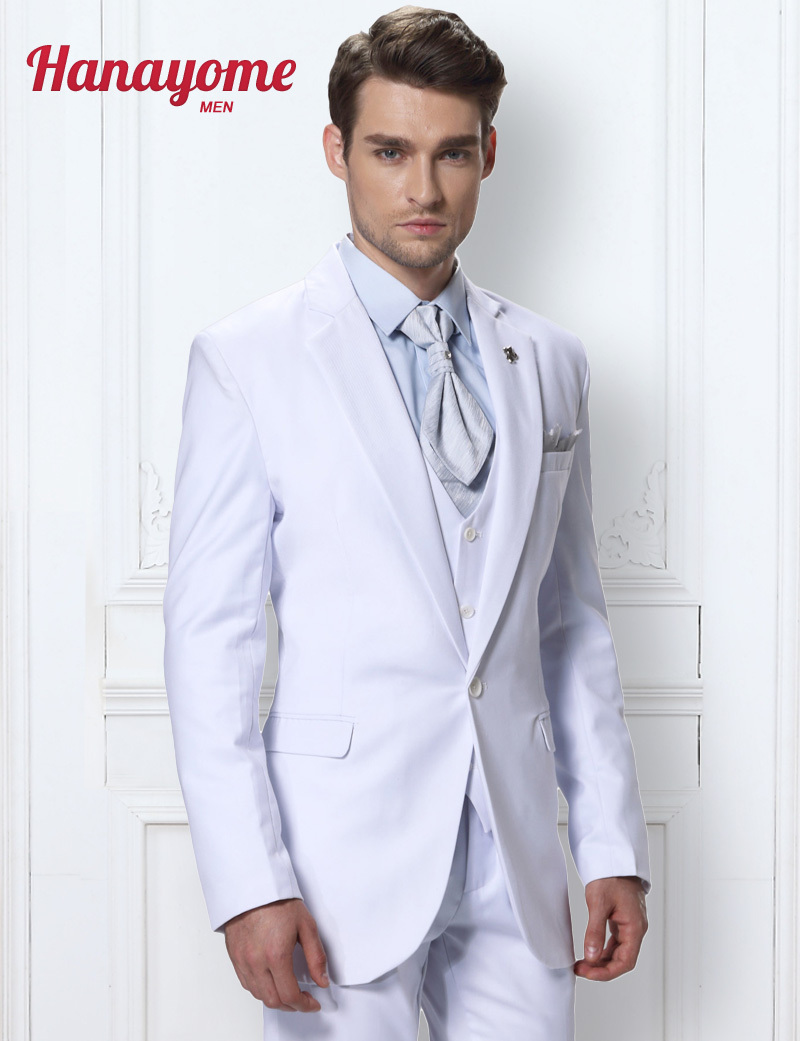 Custom Made Blazer Jacket Mens Three Piece Suits White Prom Tuxedos Men's 3-Piece Suit Blazer Tuxedo Vest & Trousers D289