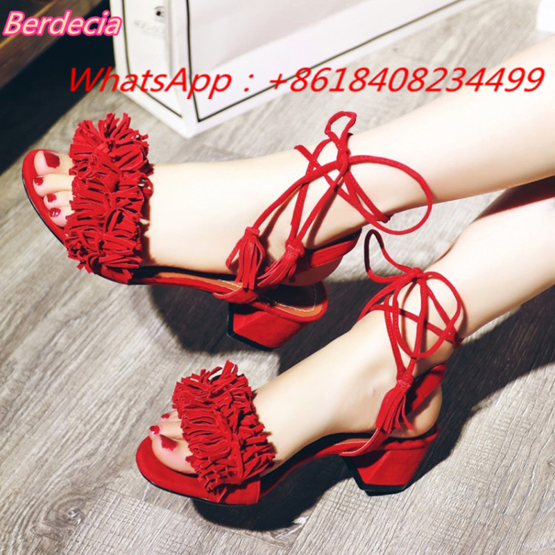 ФОТО Sexy Ankle Strap Women Sandals Open Toe Fringe Med Heels Shoes Women Cross-tied Square Heels Women Casual Shoes Zapatos Mujer