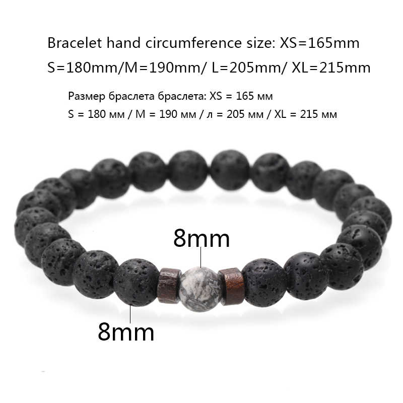 Pedra natural casal pulseira masculino nome pulseiras feitas à mão lava pedra contas de madeira pulseira para mulheres moda masculina jóias 2020
