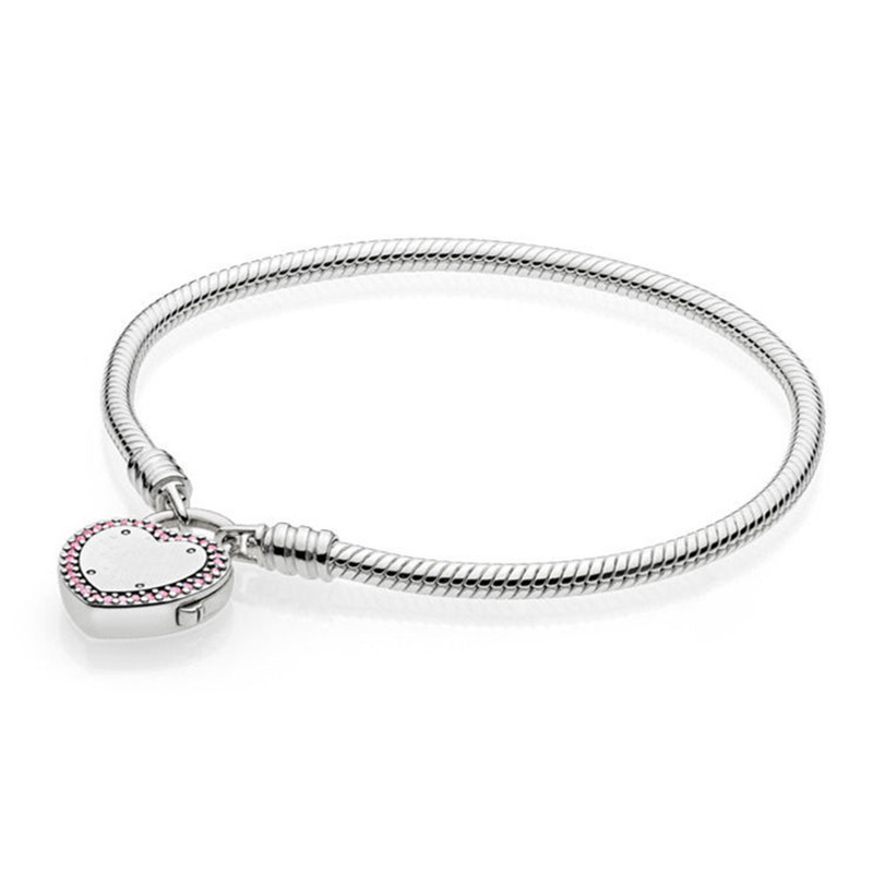 925 Sterling Silver Bead Charm Snake Chain Fit Moments Smooth Pandora Bracelet with Lock Your Promise Clasp for Women Jewelry 925 sterling silver bracelet for women moments smooth bracelet with signature padlock fit pandora beads charm pendant jewelry
