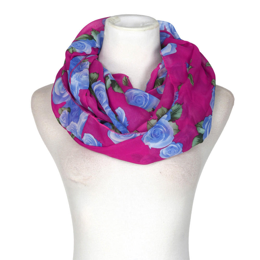 Fashion Women Rose Flower Soft Double Loop   Scarf     Wrap