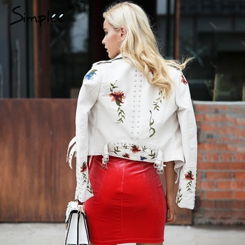 Simplee Embroidery floral faux leather jacket White basic jackets outerwear coats Women casual autumn winter jacket female coat 3