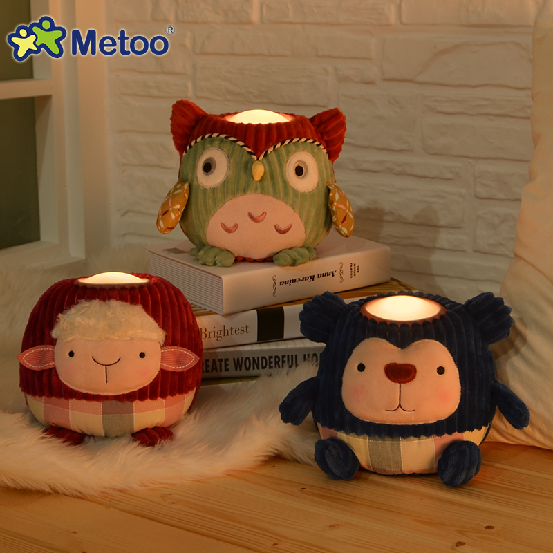 Metoo Plush Toys with LED Night Light Warm White Bedside Lamp Baby Child Gift Owl Sheep Pig Look Toy Kawaii Stuffed Animal Doll  hot sale 2pcs 18cm super cute night owl plush toy doll baby toys owl stuffed animal doll best gift for kid free shipping