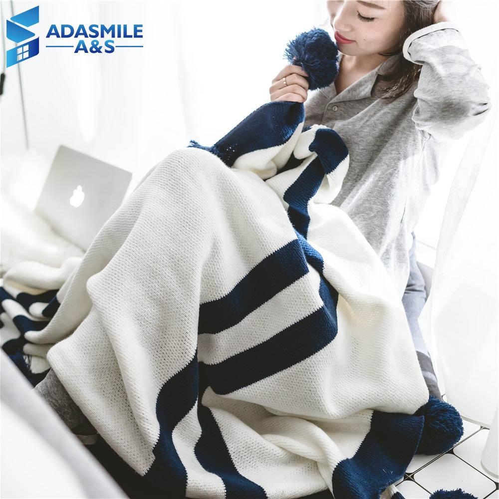 Nordique femmes tricoté fil serviette de plage châle canapé jeter couverture Portable chaud doux blanc/bleu marine lit jeter et couvertures