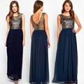 Plus Size Lace Chiffon Patchwork Women Dress 2016 Sexy Fashion Summer Sleeveless Female Blue O Neck Long Evening Party Dress