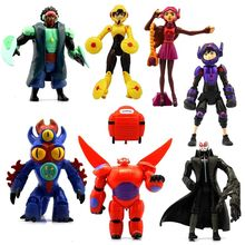 7pcs/set 15cm Big Hero 6 figures Baymax Fred Tomago Honey lemon Wasabi Cartoon Model Action Figure Toys