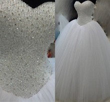 Vestido De Noiva Vintage Ball Gown Wedding Dress Actual Image Women Summer White 2015 Tulle Beaded Bridal Dresses