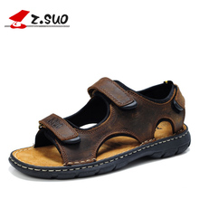 Big Size 46 47 48 Summer Retro Sandals Men 2017 New Fashion Cow Leather mens Sandals Extrawide Hook Loop Beach Shoes Brown Black