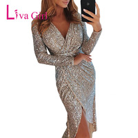 LIVA GIRL Night Club Wear Sequined Bodycon Party Dress Women Sexy V Neck Long Sleeve Ruched Irregular Midi Dresses Mujer Vestido