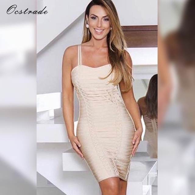ace1ce3953cd6 US $25.73 40% OFF|Ocstrade Summer Bodycon Dresses for Women Bandage Dresses  2018 New Arrivals Nude Striped Sexy Bandage Dress Rayon High Quality -in ...