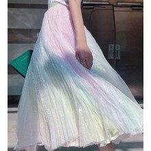 цена SE  Women TUTU Skirt High Waist Mesh Midi Pleated Gauze Sequin Skirt Female High Street Fashion Gradient Rainbow Skirt 2019 в интернет-магазинах