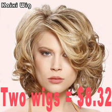 Short Curly Wigs Blonde Afro Curly Wig Synthetic African American Short Wigs For Black White Women Natural Cheap Hair Wig