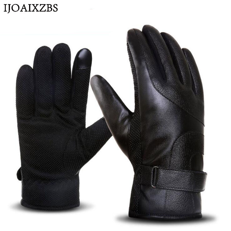 Winter Mens Leather Gloves Touch Screen Gloves Fashion Warm Black Gloves Ski Cycling Motorbike Outdoor Sports Plus Thick Gloves