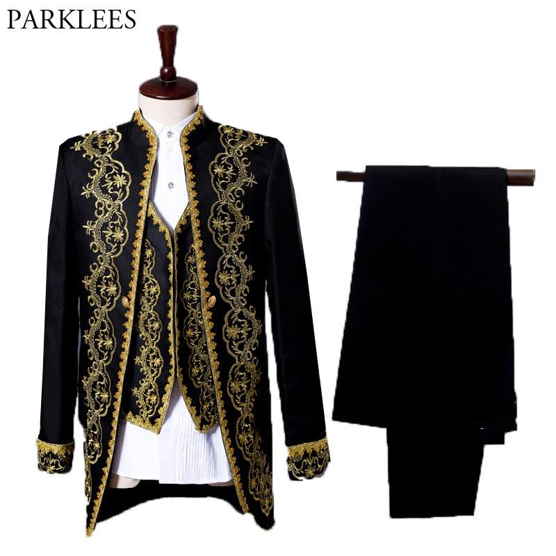 Erkek Kıyafeti'ten T. Elbise'de Erkek Klasik Altın Nakış 3 Parça Takım Elbise (Ceket + Pantolon + Yelek) parti Düğün Takım Elbise Erkek Şarkıcı Opera Sahne Suit Kostüm Homme XXL'da  Grup 1