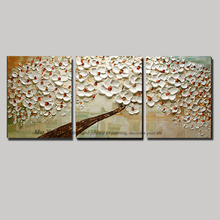 Modern blossom tree acrylic 3 panel flower acrylic oil knife painting abstract canvas art picture oil painting living room