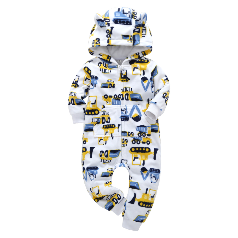 2018 Autumn&spring Baby Boy Clothes Baby Rompers Fleece Newborn Clothing One-Piece baby girl clothes Romper Hooded with zipper
