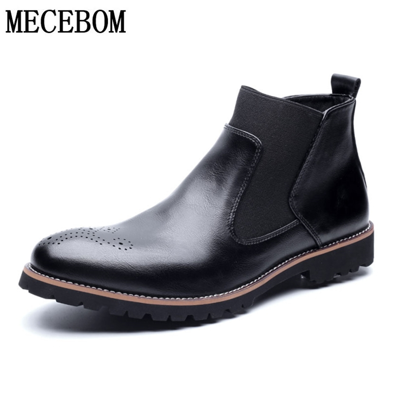 Men's Chelsea Ankle Boots Winter Plush Warm Snow Boots Male Black Leather Men Business Shoes Botas Size 38-46 328M
