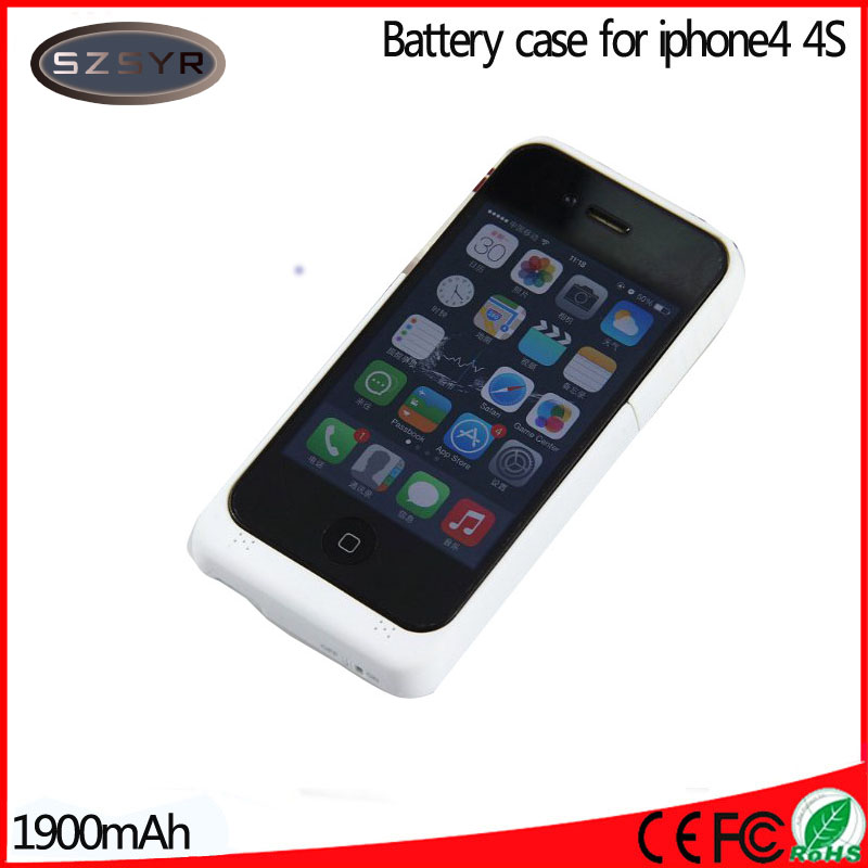imágenes para A la Venta 1900 mAh Caja de Batería de Reserva Externa Del Cargador Power bank Case Cove para el iphone 4/4S Freeshipping Negro