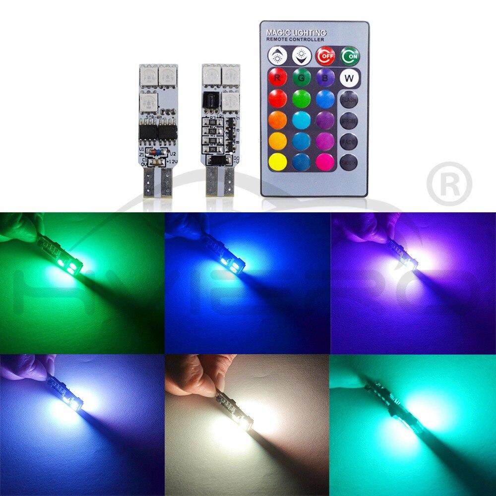 2X T10 RGB višebojna promjena žarulje LED šarene unutrašnjosti - Svjetla automobila - Foto 2