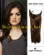 8A 16-32″ 230g Brazilian Virgin  Human Hair Halo Lady Hair Extensions Flip In Hair Press With Nylon  #08 Color