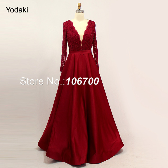 Real photos Amazing Embroidery Lace Ballgowns Evening Dresses V Neck Long  Sleeves Sheer Back Burgundy Color Long Prom Gowns 2018 3ee3f771191e