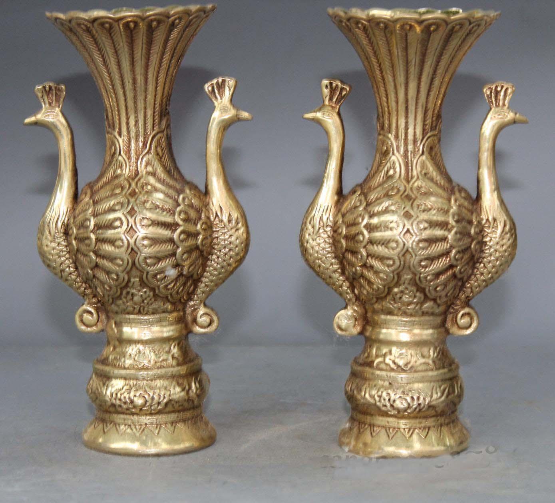 Chinese Royal Palace Old Copper Bronze Longevity Phoenix Bird Ears Zun Pot VaseChinese Royal Palace Old Copper Bronze Longevity Phoenix Bird Ears Zun Pot Vase