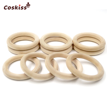 68mm 2 67 20pcs Nature Wooden Ring Teether Montessori Baby Toy Organic Infant Teething Toy Accessories