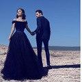 2017 Moda Preto Arábia Árabe Líbano Cristal Tulle Vestidos de Noite Frisado Tule Vestidos de Noite Vestido Longo Prom Vestidos