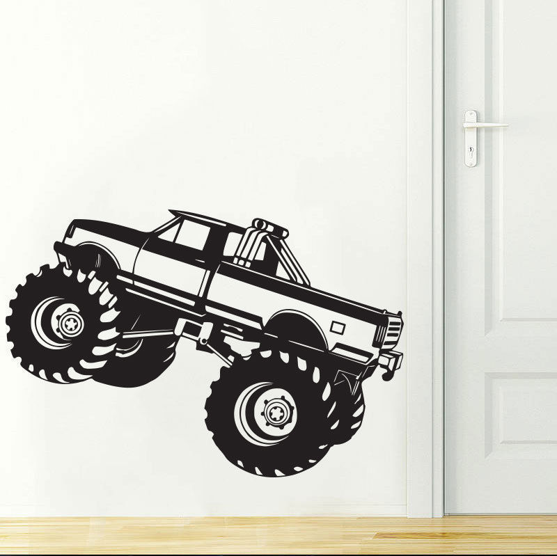 Monster Truck Wall Stickers Part - 21: Free Shipping Kids Boys Monster Truck Vinyl Wall Decal Art Room Home Decor Wall  Stickers For Kids Room