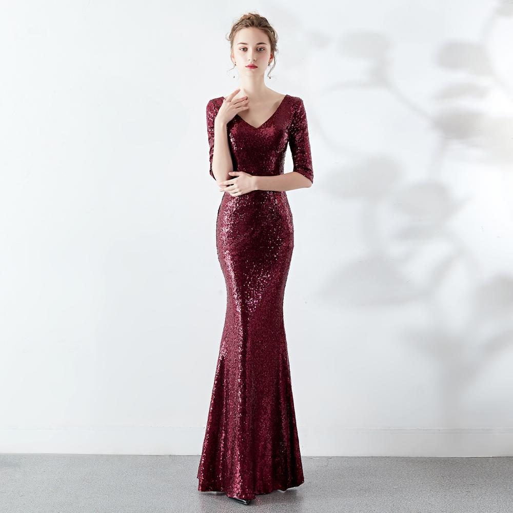 Burgundy Long Formal Party   Dresses   with Half Sleeves 2020 Sequins Mermaid V Neck   Bridesmaid     Dress   vestido de fiesta para boda