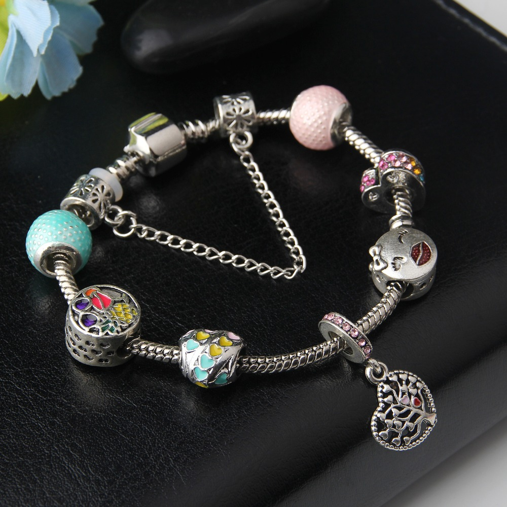 Summer Style Rainbow Charm Bracelets For Women with Colourful Murano Beads Snake Chain Pa Bracelet Jewelry Gift