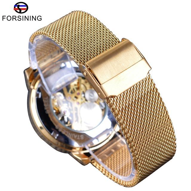 Forsining Transparent Case 2017 Fashion 3D Logo Engraving Golden Stainless Steel Men Mechanical Watch Top Brand Luxury Skeleton