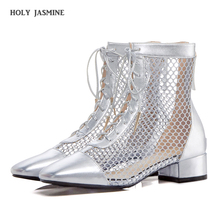 2019 Summer New Sexy Hollow Out Black Mesh Ankle Boots Women Runway Point Toe Lace Up Med Heels Shoes Lady Party Wedding Sandals недорого