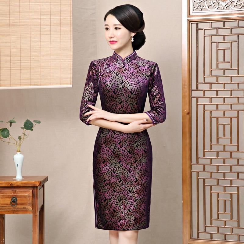 2019 New Purple Chinese Women Traditional Dress Velvet Cheongsam Tighten Sexy Qipao Flower China Wedding Dress