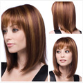 Full Lace Human Fashion Wig Highlight Medium Length Pruik Natural Full Bang Hair pieces for European and American Women