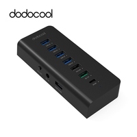 dodocool 7 Port USB Hub with 4 Data Transfer USB 3.0 Ports 60W Fast Charger Power Adapter Quick Charge 3.0 for samsung S7 S6 PC