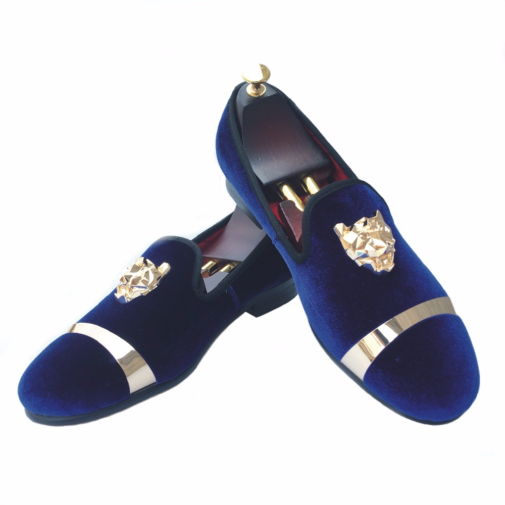 New Handmade Men Gold Buckle Loafers Slippers Shoes Men Blue Velvet Shoes with Red Bottom Party and Wedding Slip on Men't Flats men loafers paint and rivet design simple eye catching is your good choice in party time wedding and party shoes men flats