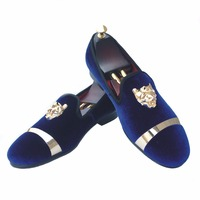 New Handmade Men Gold Buckle Loafers Slippers Shoes Men Blue Velvet Shoes With Red Bottom Party
