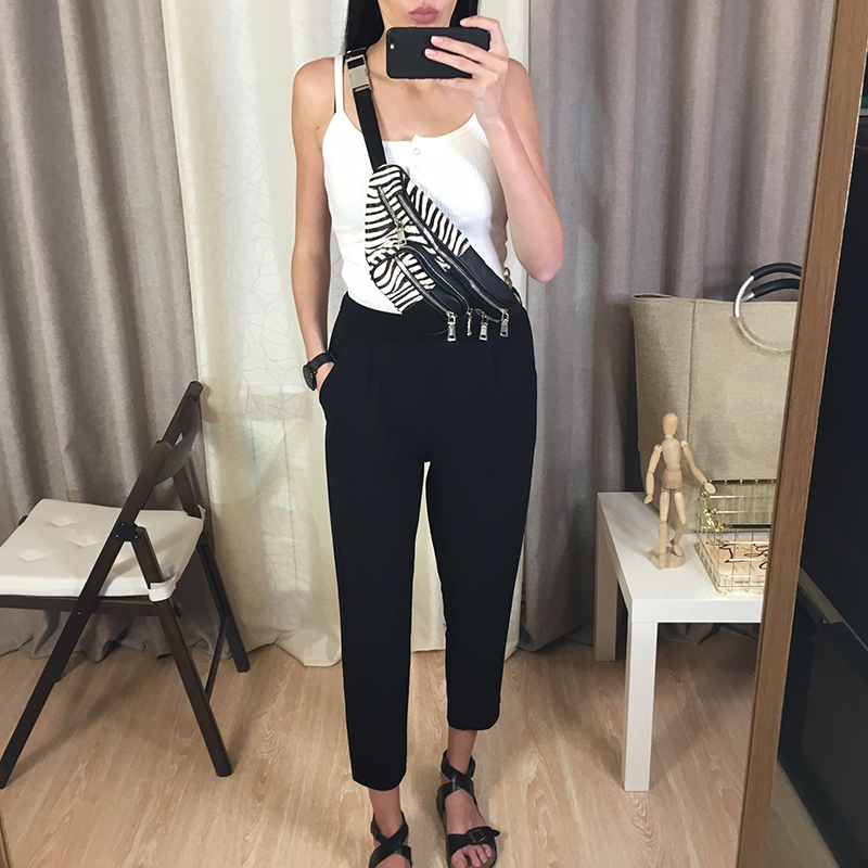 BIVIGAOS Spring Summer New Ladies Korean OL Black Harem Pants Breathable Thin Casual Pencil Pants Simple Suit Trousers For Women 8