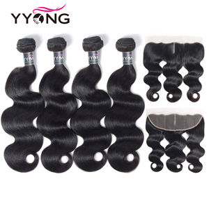 YYong Brazilian Body Wave With Lace Frontal 100% Human Hair 4 Bundles With 13*4 Frontal Closure Free/Middle/Three Part Remy